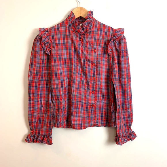 Vintage Red Plaid Shirt Blouse Ruffle Girls 7 8